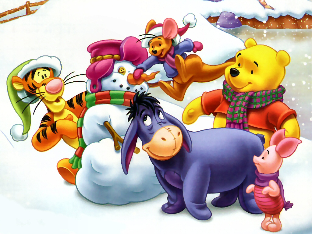 Винни пух и компания лепят снеговика